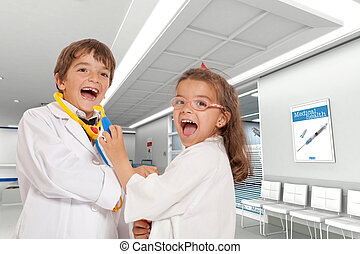 hospitalar, criança, doutores
