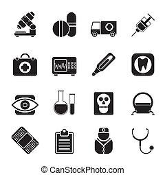 hospitalar, e, cuidado saúde, ícones