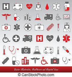 hospitalar, e, cuidados de saúde, ícones