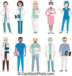 hospitalar, equipe funcionários médica