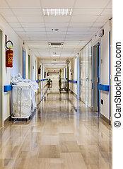 hospitalar, limpo, corredor