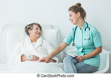 hospitalar, paciente, com, enfermeira