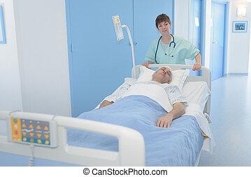 hospitalar, paciente, enfermeira, cama
