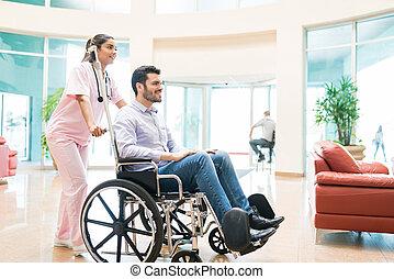 hospitalar, paciente, partindo, trabalhador, adulto masculino, cuidados de saúde, meio