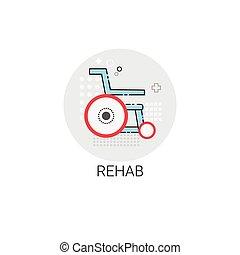 hospitalar, rehab, clínica, tratamento, doutores, médico, ícone