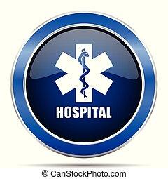 hospitalar, vetorial, icon., modernos, desenho, azul, prata, metálico, lustroso, teia, e, móvel, aplicações, botão, em, eps, 10