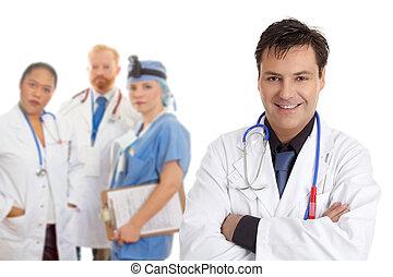 hospitalet, medicinsk, personale, hold