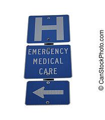 hospitalet, nødsituation, medicinsk omsorg, tegn