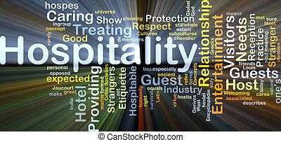 hospitalité, fond, concept, incandescent