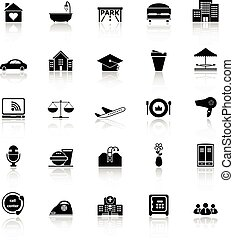 Hospitality business icons with reflect on white background,...