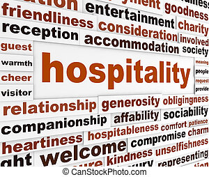 Hospitality creative words conceptual poster. Generosity...