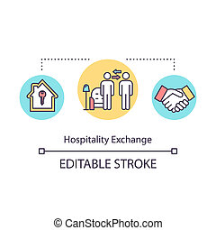 Hospitality exchange concept icon. Budget travel, free accommodation idea thin line illustration. Low cost tourism, mutual benefit. Vector isolated outline RGB color drawing. Editable stroke