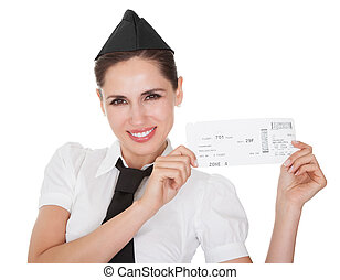 Smiling welcoming hospitality hostess presenting a voucher in her hands isolated on white