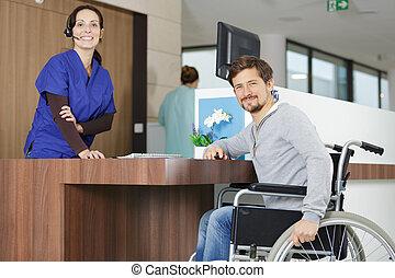 hospitalización, esperar, incapacitado, sílla de ruedas, ...