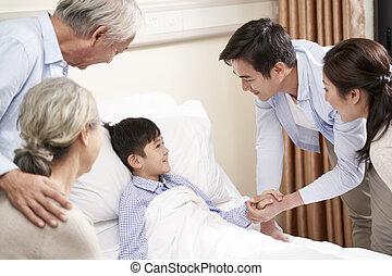 hospitalized, genitori, bambino asiatico, nonni, visitare