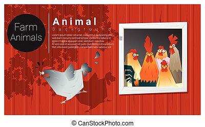hospodaření animální, grafické pozadí, s, kuře
