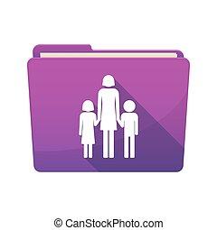 hosszú, árnyék, kévekötő, noha, egy, női, egyes szülők család, pictogram