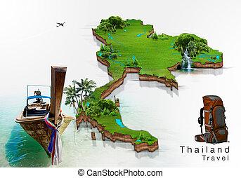 hosszú, csónakázik, és, sziget, térkép, thaiföld