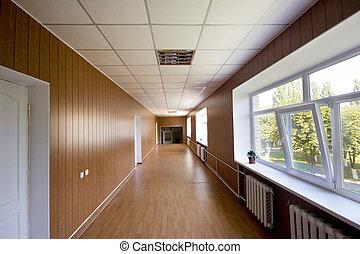 hosszú, folyosó, alatt, kórház