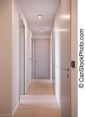 hosszú, folyosó, noha, ajtók