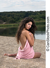 hosszú szőr, nő, a parton