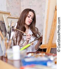 hosszúhajú, művész, fest, akármi, képben látható, vászon
