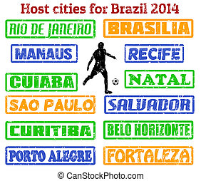 Grunge stamps of all host cities and areas for 2014 football or soccer in Brazil, vector illustration