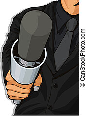 Host Holding Microphone - A vector image of a host holding a...