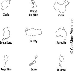 Host nation icons set, outline style