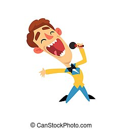 Host of the show, joyful man with microphone vector Illustration on a white background