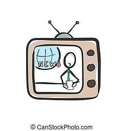 Host reading news on tv. TV show breaking news. Social media. Hand drawn. Stickman cartoon. Doodle sketch, Vector graphic illustration