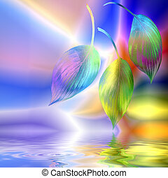 Three hosta leaves in an abstract design with reflection over rippled water, against multicolored background.