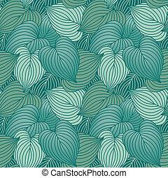 Hosta Leaf Pattern_Blue - Vector seamless pattern of hosta...