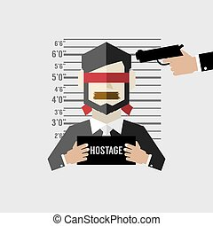 Hostage On Mugshot With Gun Point. - Hostage On Mugshot With...