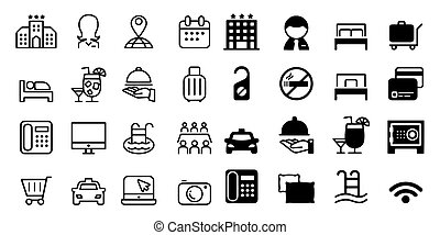 hostel and hotel icons Vector illustration