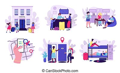 Hostel and tourists accomodation set of vector illustrations. Room in hostel for stay at night, travelers with luggage, mobile apps.
