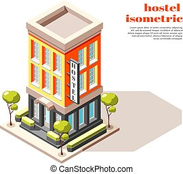 Hostel Building Isometric Composition - Hostel isometric...