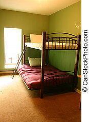 Shot of a dorm with bunk-beds