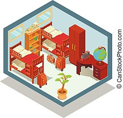 Hostel concept banner, isometric style - Hostel concept...