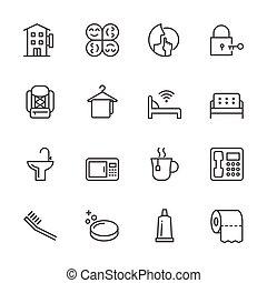 Hostel & Hotel icon set. Traveler and Backpacker. Vector...