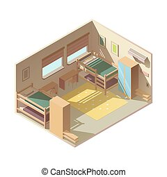 Hostel hotel room isometric vector interior - Large family...
