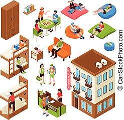 Hostel Isometric Icons Set