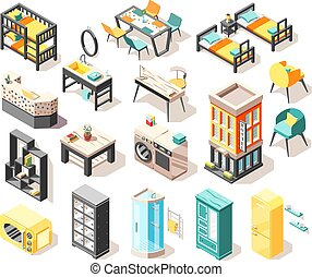 Hostel Isometric Icons Set - Travel isometric icons set with...