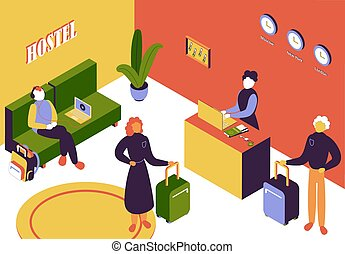 Hostel Isometric Illustration - People with luggage in ...