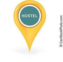 Hostel Location - Map pin showing a hostel location.