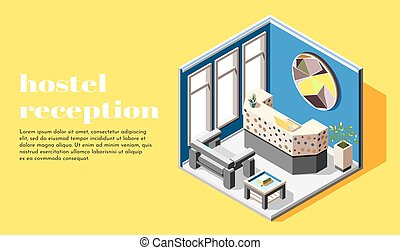 Hostel Reception Isometric Background - Hostel isometric...