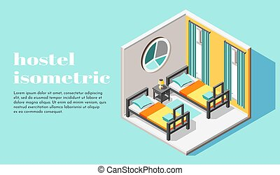 Hostel Room Isometric Background - Hostel room interior for...
