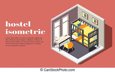 Hostel Room Isometric Poster - Hostel room of economy class...