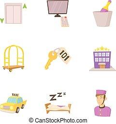 Hostel service icons set, cartoon style