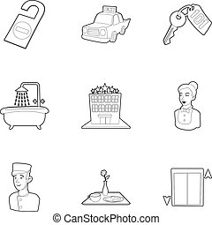 Hostel service icons set, outline style